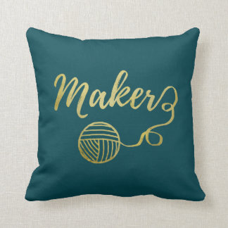 Maker • Yarn Crafts Typography Faux Gold Two Tone Cushion