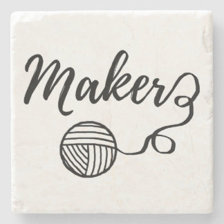 Maker • Yarn & Crafts Typography Stone Coaster