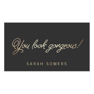 Makeup and Hair Stylist Gold Typography Beauty Pack Of Standard Business Cards