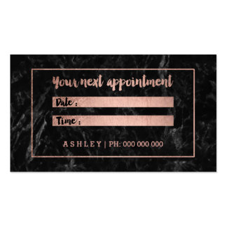 Makeup appointment rose gold black marble pack of standard business cards