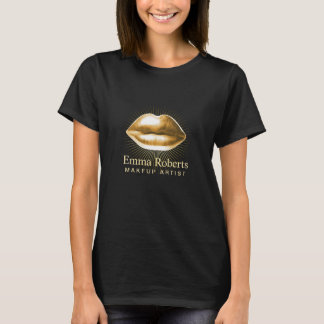 Makeup Artist 3D Gold Lips Beauty Salon T-Shirt