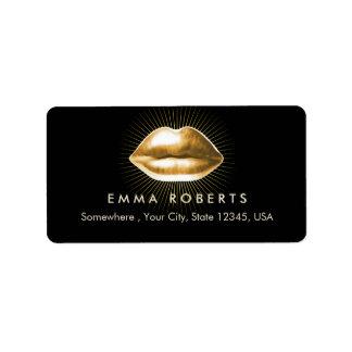 Makeup Artist 3D Gold Lips Modern Beauty Salon Label