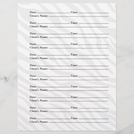 makeup artist appointment sheets zazzle co uk