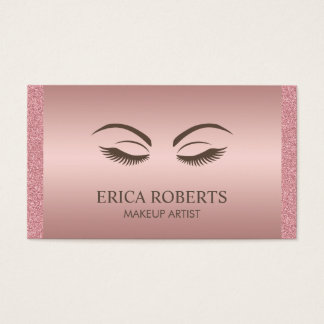 Makeup Artist Beauty Girl Elegant Rose Gold Business Card