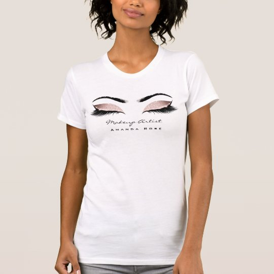 Makeup Artist Beauty Lashes Pink Rose Glitter T-Shirt