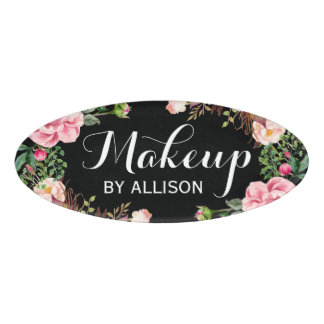 Makeup Artist Beauty Salon Classy Floral Wrapped Name Tag