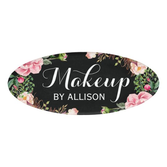 Makeup Artist Beauty Salon Classy Floral Wrapped Name