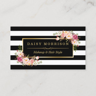 Makeup artist business cards zazzle uk makeup artist beauty salon gold vintage floral business card fbccfo Gallery