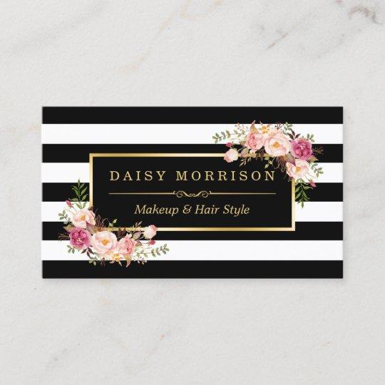 Makeup artist beauty salon gold vintage floral business card makeup artist beauty salon gold vintage floral business card reheart Images
