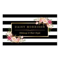 Makeup Artist Beauty Salon Gold Vintage Floral Business Card