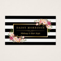 Hair and makeup business cards business card printing zazzle uk hair and makeup business cards makeup artist beauty salon gold vintage floral colourmoves Images