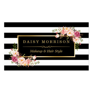 Makeup Artist Beauty Salon Gold Vintage Floral Pack Of Standard Business Cards