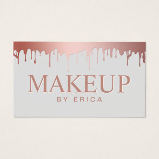 Makeup Artist Beauty Salon Rose Gold Drips Business Card