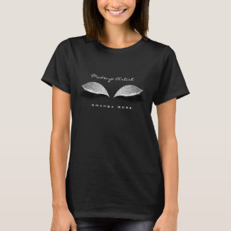 Makeup Artist Beuty Lashes Silver Black Gray Name T-Shirt