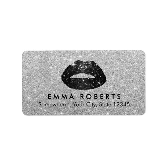 Makeup Artist Black Glitter Lips Modern Silver Address Label