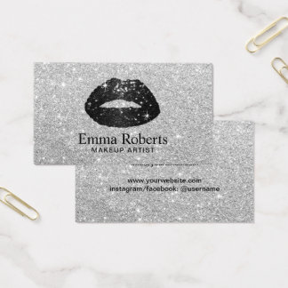 Makeup Artist Black Glitter Lips Modern Silver Business Card