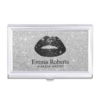 Makeup Artist Black Glitter Lips Modern Silver Business Card Holder