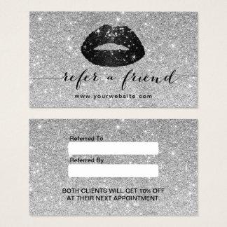 Makeup Artist Black Glitter Lips Silver Referral Business Card
