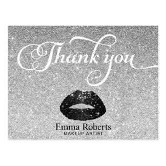 Makeup Artist Black Glitter Lips Silver Thank You Postcard