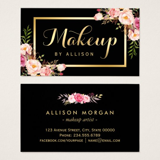 Makeup Artist Black Gold Script Floral Wrap Business