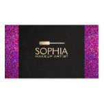 Makeup Artist Black Linen and Purple Glitter Look Pack Of Standard Business Cards