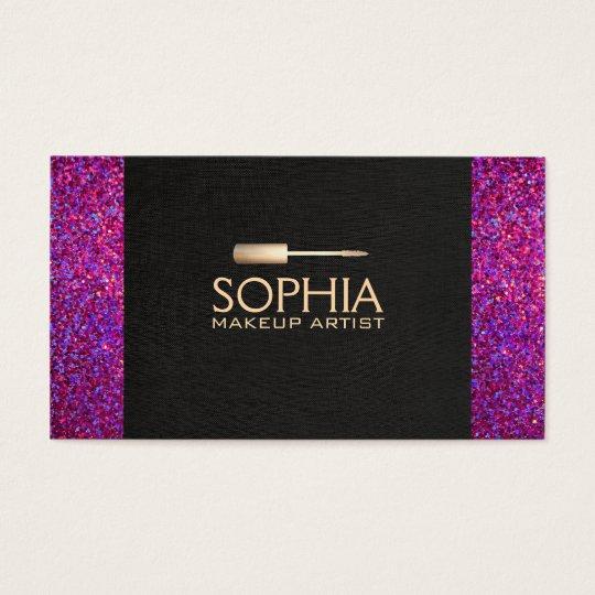 Makeup Artist Black Linen and Purple Glitter Look