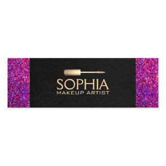 Makeup Artist Black Linen and Purple Glitter Look Pack Of Skinny Business Cards