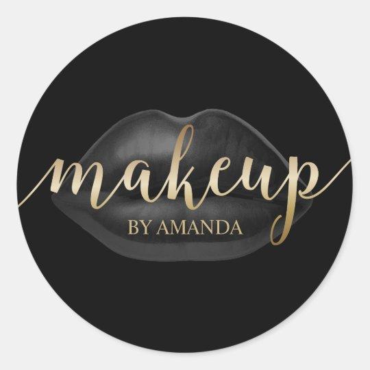 Makeup Artist Black Lips Gold Script Beauty Salon
