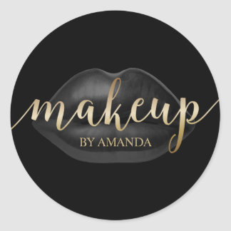 Makeup Artist Black Lips Gold Script Beauty Salon Round Sticker