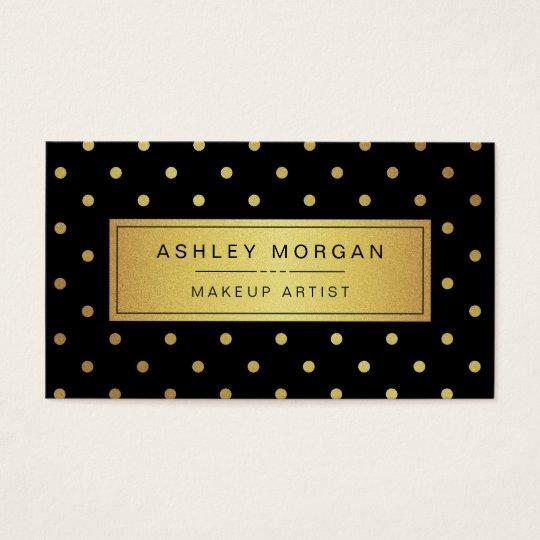 Makeup Artist - Black White Gold Dots Business Card