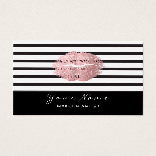 Makeup Artist Black White Stripes Lips Rose Gold