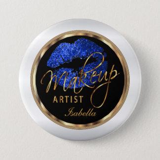 Makeup Artist - Blue Glitter On Black & White 7.5 Cm Round Badge