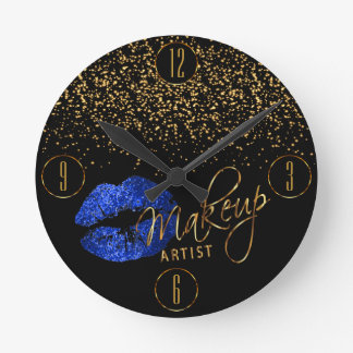 Makeup Artist Blue Lips and Gold Confetti Round Clock