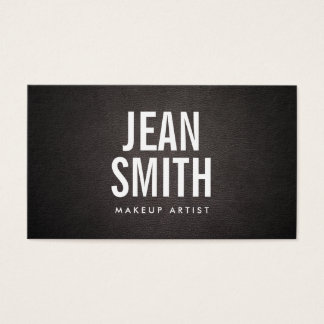 Makeup Artist Bold Text Elegant Dark Leather Business Card