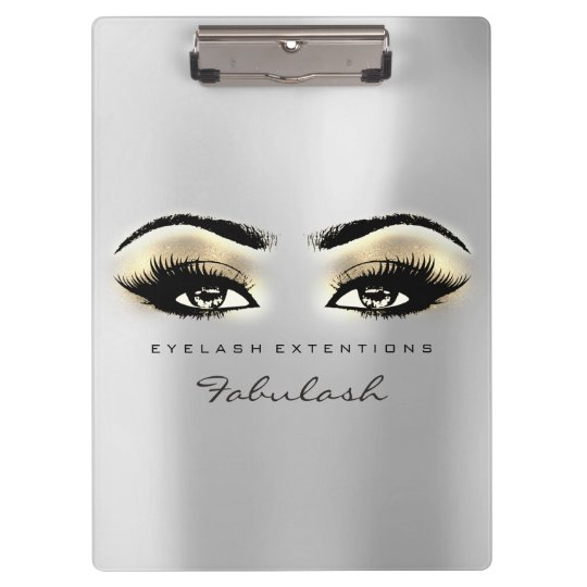 Makeup Artist Brown Studio Lashes Silver Gold Clipboard