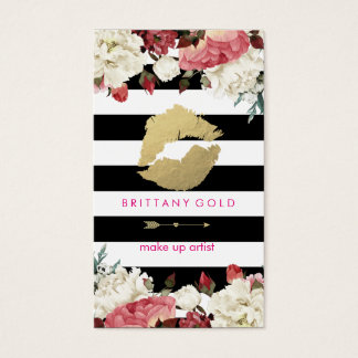 Makeup Artist Business Card - Chic Gold and Black