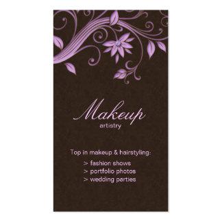 Makeup Artist Business Card Flower Purple Brown