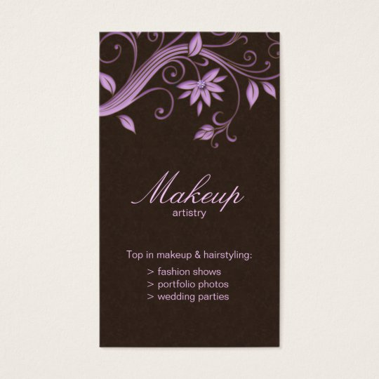 Makeup Artist Business Card Flower Purple Brown