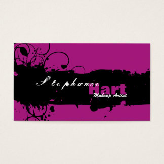 Nail technician clothing business cards business card printing makeup artist business card grunge splatter pink reheart Gallery