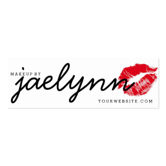 makeup artist business card red xoxo lips