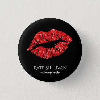 makeup artist chic red lips 3 cm round badge