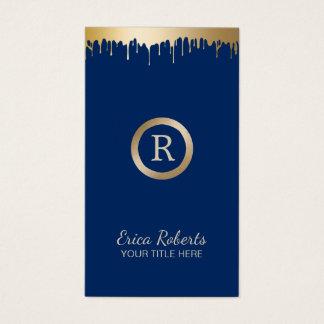 Makeup Artist Classy Gold Navy Blue Monogram Salon Business Card