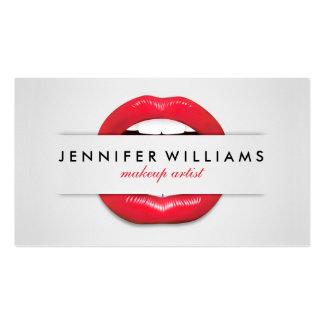 Makeup artist cool red lips gray texture modern pack of standard business cards