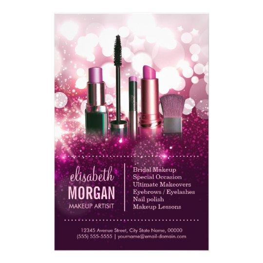 Makeup Artist Cosmetician - Pink Beauty Glitter Flyer