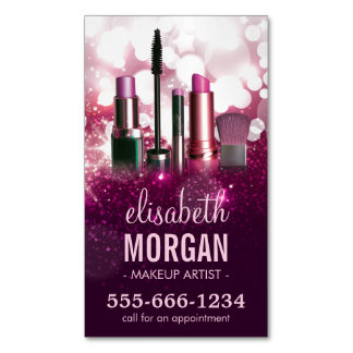 Makeup Artist Cosmetician - Pink Beauty Glitter Magnetic Business Cards