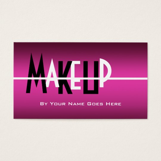 Makeup artist cosmetics pink black white business card
