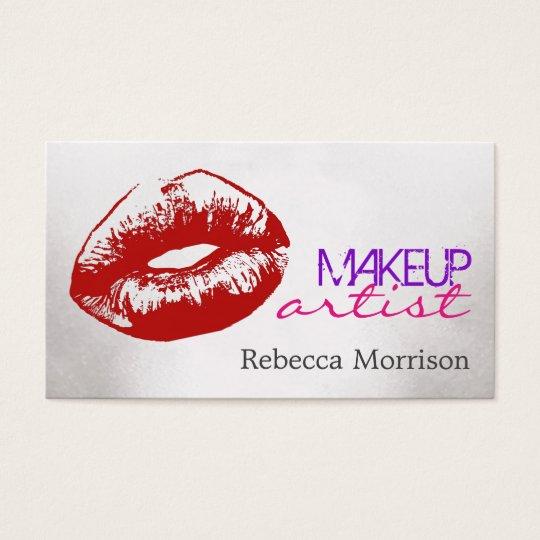 Makeup Artist Cosmetologist Red Lips Business Card