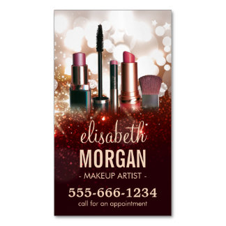 Makeup Artist Cosmetologist Shiny Glitter Sparkle Magnetic Business Card