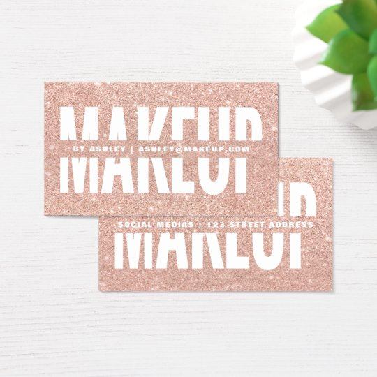 Makeup artist cut out typography rose gold glitter