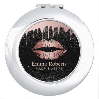 Makeup Artist Dripping Rose Gold Lips Beauty Salon Travel Mirrors